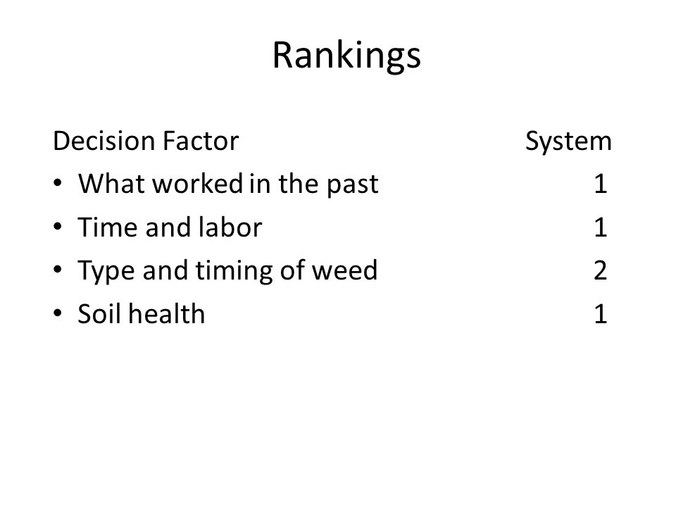 Rankings Decision FactorSystem What worked in the past1 Time and labor1 Type and timing of weed2 Soil health1