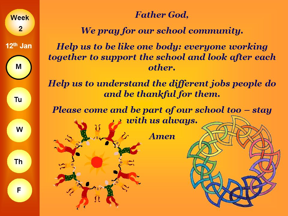 Week M Tu W Th F 2 12 th Jan Father God, We pray for our school community. Help us to be like one body: everyone working together to support the schoo