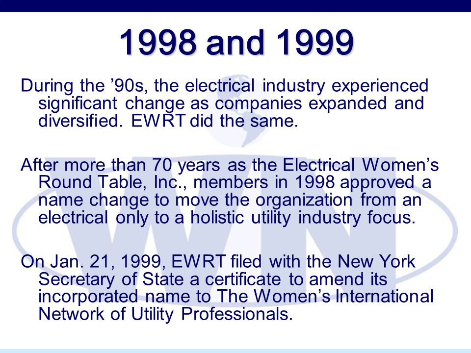 1998 and 1999 During the '90s, the electrical industry experienced significant change as companies expanded and diversified. EWRT did the same. After