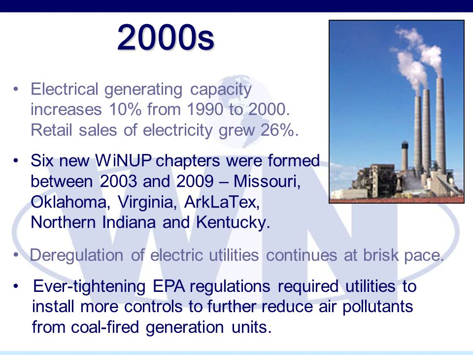 2000s Electrical generating capacity increases 10% from 1990 to 2000. Retail sales of electricity grew 26%. Six new WiNUP chapters were formed between