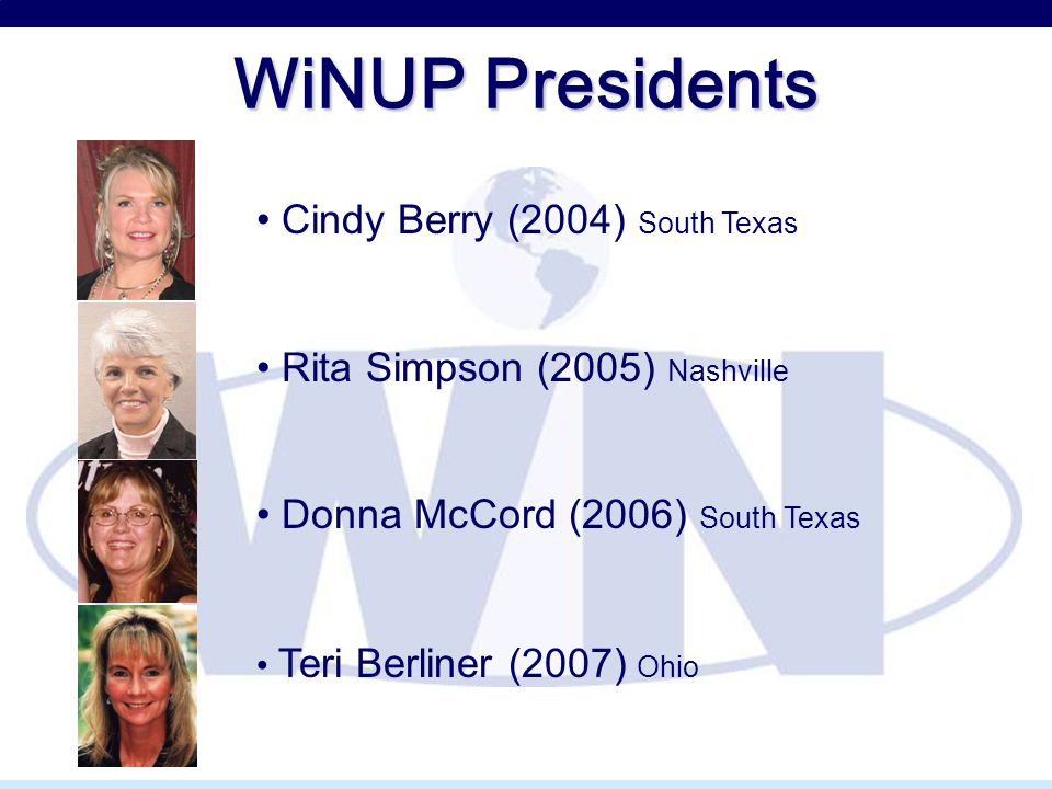 WiNUP Presidents Cindy Berry (2004) South Texas Rita Simpson (2005) Nashville Donna McCord (2006) South Texas Teri Berliner (2007) Ohio