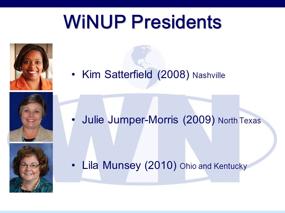 WiNUP Presidents Kim Satterfield (2008) Nashville Julie Jumper-Morris (2009) North Texas Lila Munsey (2010) Ohio and Kentucky