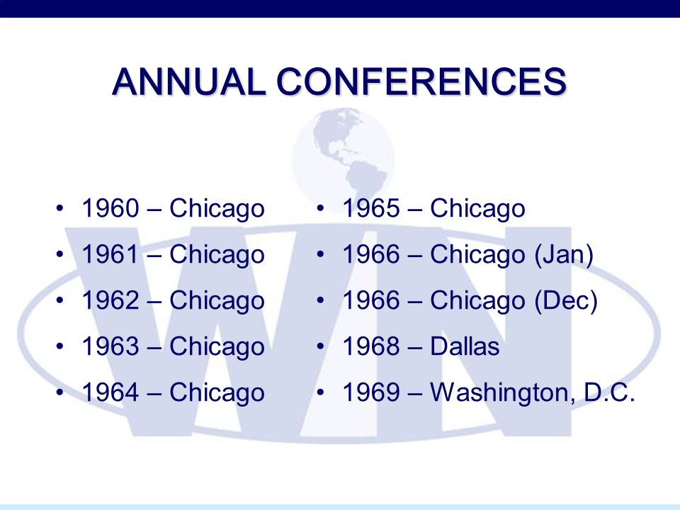 ANNUAL CONFERENCES 1960 – Chicago 1961 – Chicago 1962 – Chicago 1963 – Chicago 1964 – Chicago 1965 – Chicago 1966 – Chicago (Jan) 1966 – Chicago (Dec) 1968 – Dallas 1969 – Washington, D.C.