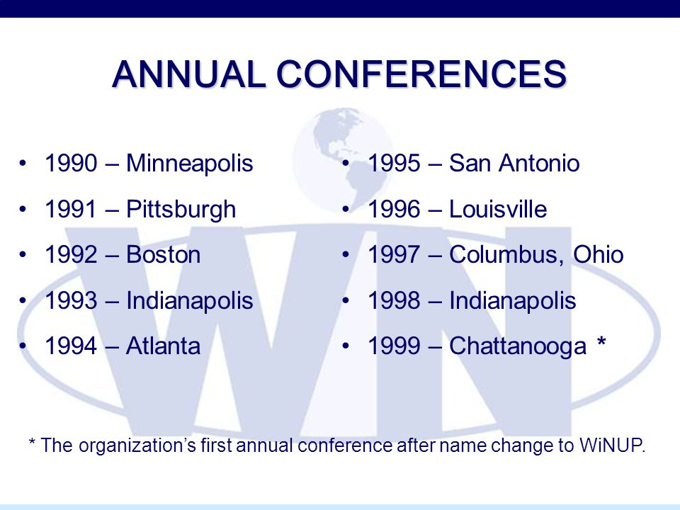 ANNUAL CONFERENCES 1990 – Minneapolis 1991 – Pittsburgh 1992 – Boston 1993 – Indianapolis 1994 – Atlanta 1995 – San Antonio 1996 – Louisville 1997 – Columbus, Ohio 1998 – Indianapolis 1999 – Chattanooga * * The organization's first annual conference after name change to WiNUP.