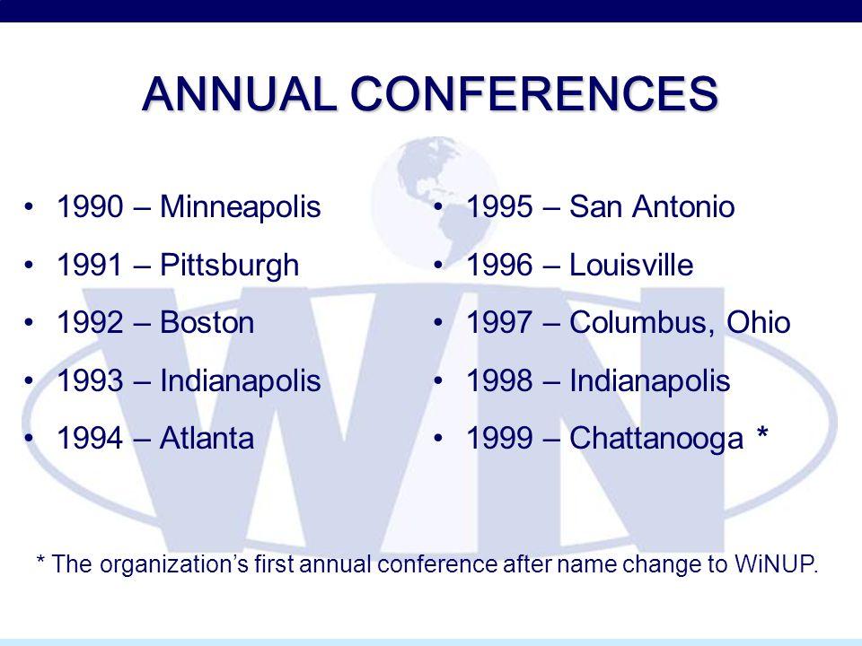 ANNUAL CONFERENCES 1990 – Minneapolis 1991 – Pittsburgh 1992 – Boston 1993 – Indianapolis 1994 – Atlanta 1995 – San Antonio 1996 – Louisville 1997 – C