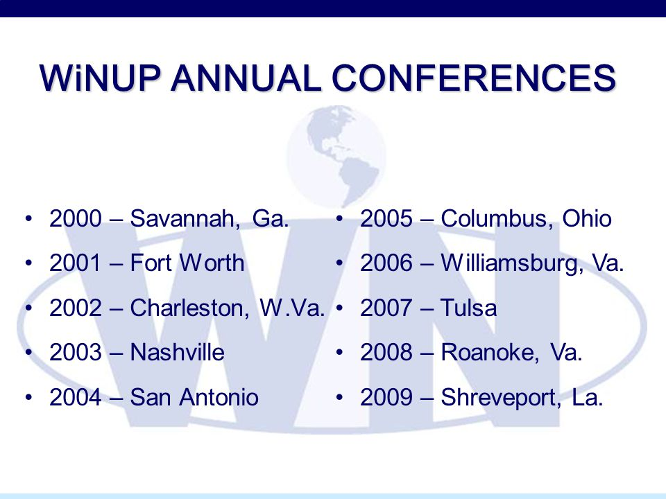 WiNUP ANNUAL CONFERENCES 2000 – Savannah, Ga. 2001 – Fort Worth 2002 – Charleston, W.Va.