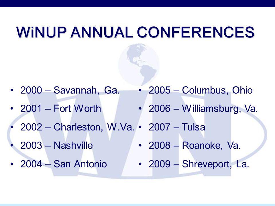 WiNUP ANNUAL CONFERENCES 2000 – Savannah, Ga. 2001 – Fort Worth 2002 – Charleston, W.Va. 2003 – Nashville 2004 – San Antonio 2005 – Columbus, Ohio 200