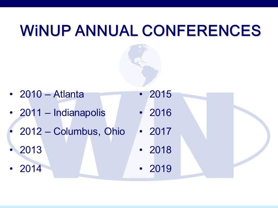 WiNUP ANNUAL CONFERENCES 2010 – Atlanta 2011 – Indianapolis 2012 – Columbus, Ohio 2013 2014 2015 2016 2017 2018 2019