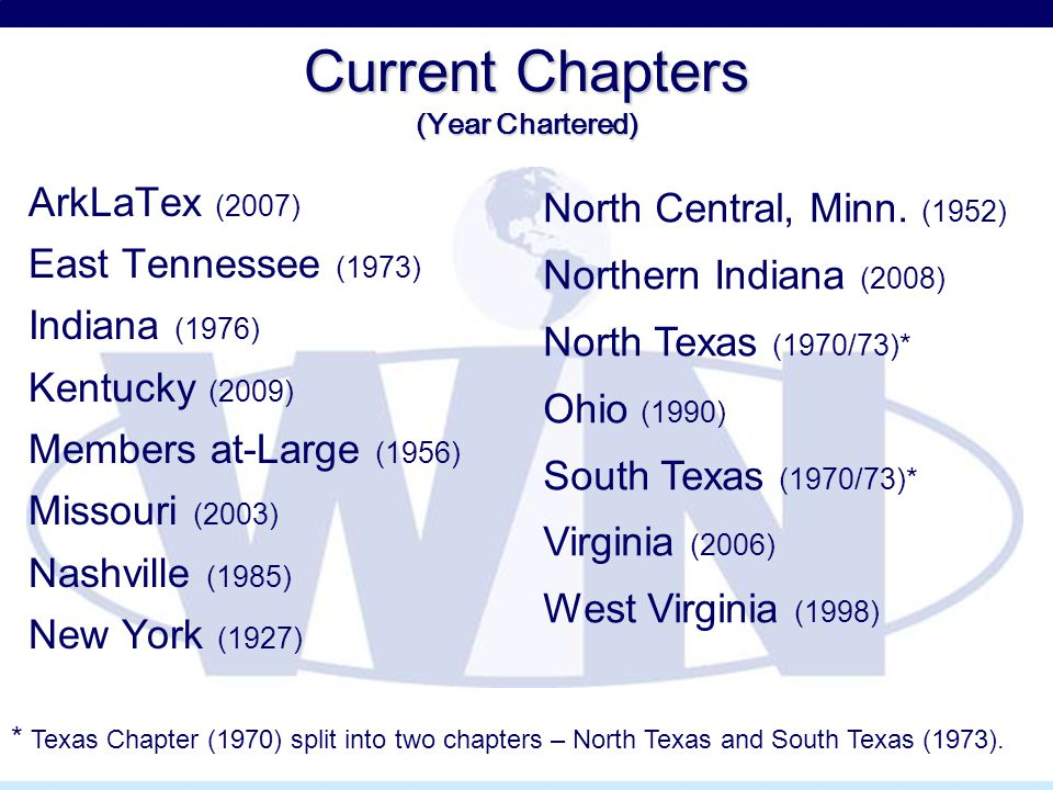 Current Chapters (Year Chartered) ArkLaTex (2007) East Tennessee (1973) Indiana (1976) Kentucky (2009) Members at-Large (1956) Missouri (2003) Nashvil