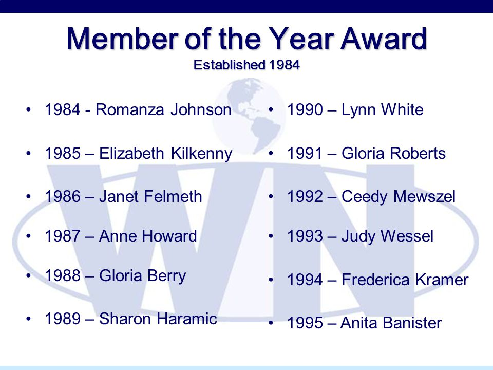 Member of the Year Award Established 1984 1984 - Romanza Johnson 1985 – Elizabeth Kilkenny 1986 – Janet Felmeth 1987 – Anne Howard 1988 – Gloria Berry 1989 – Sharon Haramic 1990 – Lynn White 1991 – Gloria Roberts 1992 – Ceedy Mewszel 1993 – Judy Wessel 1994 – Frederica Kramer 1995 – Anita Banister