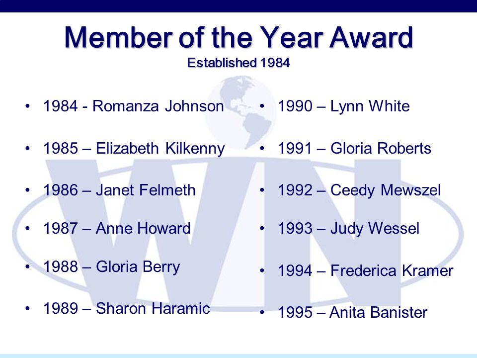 Member of the Year Award Established 1984 1984 - Romanza Johnson 1985 – Elizabeth Kilkenny 1986 – Janet Felmeth 1987 – Anne Howard 1988 – Gloria Berry