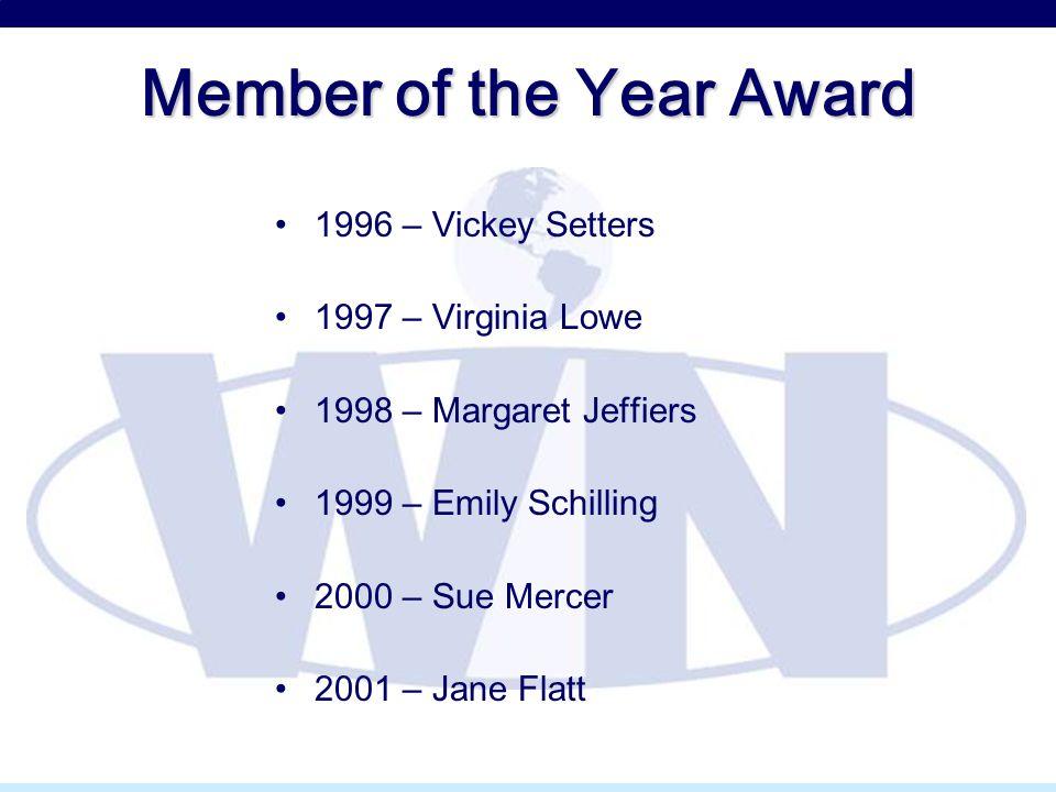 Member of the Year Award 1996 – Vickey Setters 1997 – Virginia Lowe 1998 – Margaret Jeffiers 1999 – Emily Schilling 2000 – Sue Mercer 2001 – Jane Flat