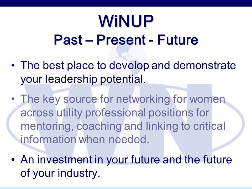 WiNUP Past – Present - Future The best place to develop and demonstrate your leadership potential. The key source for networking for women across util