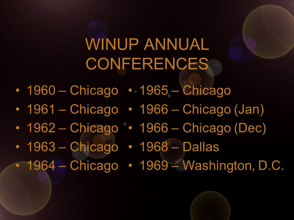 WINUP ANNUAL CONFERENCES 1960 – Chicago 1961 – Chicago 1962 – Chicago 1963 – Chicago 1964 – Chicago 1965 – Chicago 1966 – Chicago (Jan) 1966 – Chicago