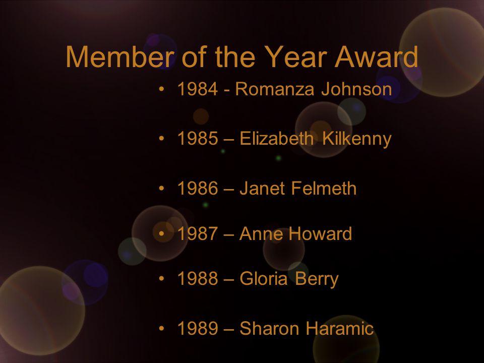 Member of the Year Award 1984 - Romanza Johnson 1985 – Elizabeth Kilkenny 1986 – Janet Felmeth 1987 – Anne Howard 1988 – Gloria Berry 1989 – Sharon Haramic