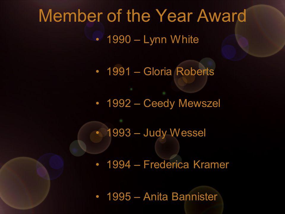 Member of the Year Award 1990 – Lynn White 1991 – Gloria Roberts 1992 – Ceedy Mewszel 1993 – Judy Wessel 1994 – Frederica Kramer 1995 – Anita Bannister