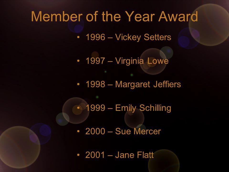 Member of the Year Award 1996 – Vickey Setters 1997 – Virginia Lowe 1998 – Margaret Jeffiers 1999 – Emily Schilling 2000 – Sue Mercer 2001 – Jane Flatt