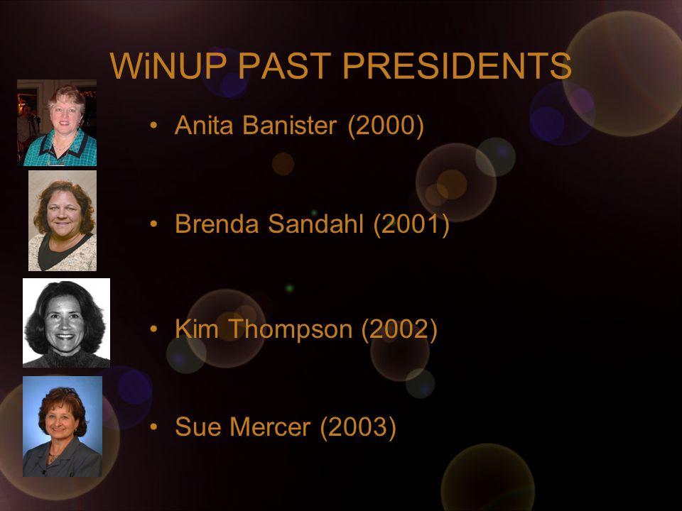 WiNUP PAST PRESIDENTS Anita Banister (2000) Brenda Sandahl (2001) Kim Thompson (2002) Sue Mercer (2003)