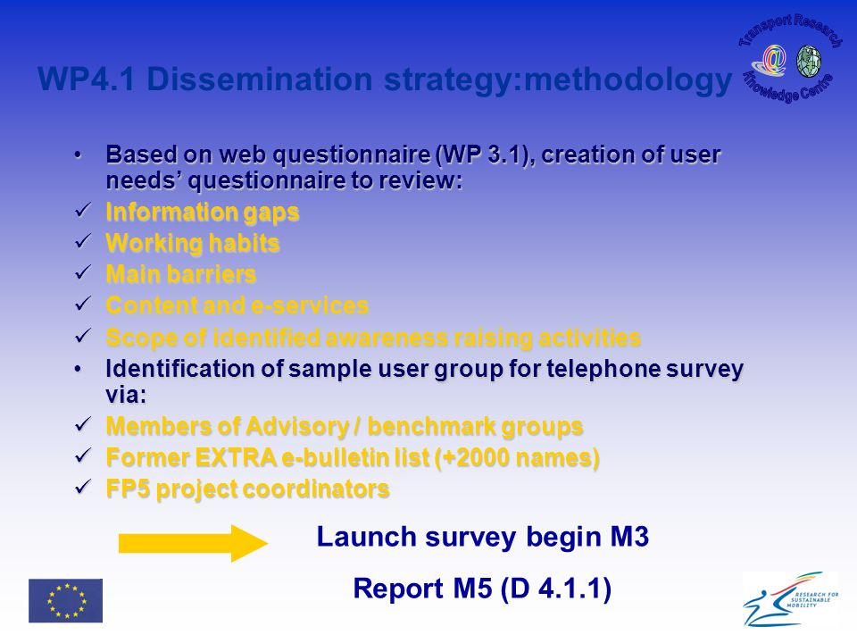 WP4.1 Dissemination strategy:methodology Based on web questionnaire (WP 3.1), creation of user needs' questionnaire to review:Based on web questionnaire (WP 3.1), creation of user needs' questionnaire to review: Information gaps Information gaps Working habits Working habits Main barriers Main barriers Content and e-services Content and e-services Scope of identified awareness raising activities Scope of identified awareness raising activities Identification of sample user group for telephone survey via:Identification of sample user group for telephone survey via: Members of Advisory / benchmark groups Members of Advisory / benchmark groups Former EXTRA e-bulletin list (+2000 names) Former EXTRA e-bulletin list (+2000 names) FP5 project coordinators FP5 project coordinators Launch survey begin M3 Report M5 (D 4.1.1)