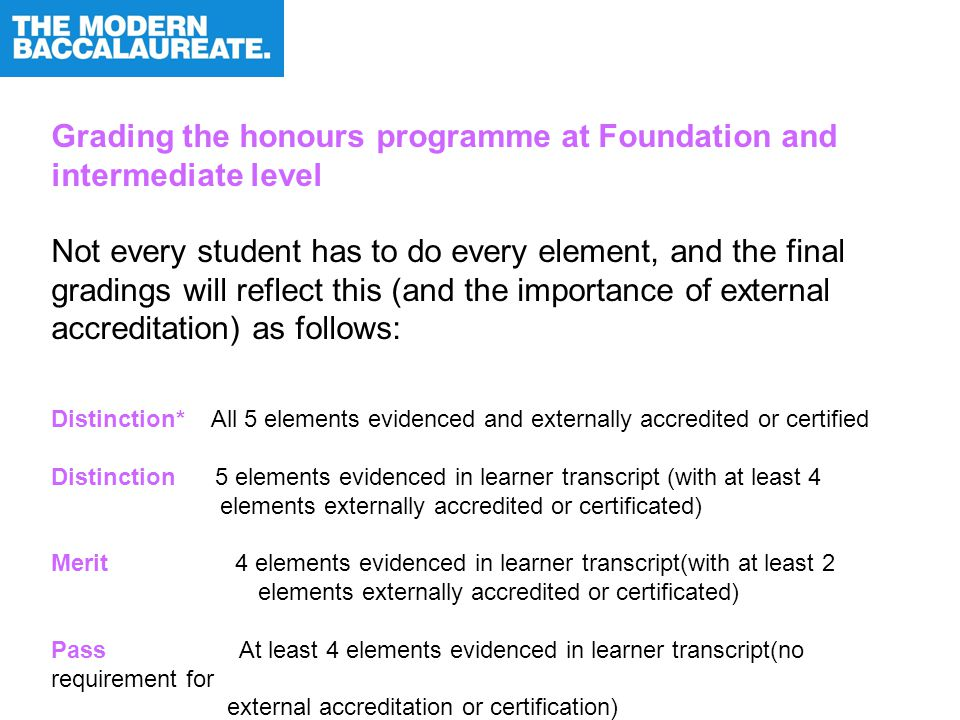 Grading the honours programme at Foundation and intermediate level Not every student has to do every element, and the final gradings will reflect this