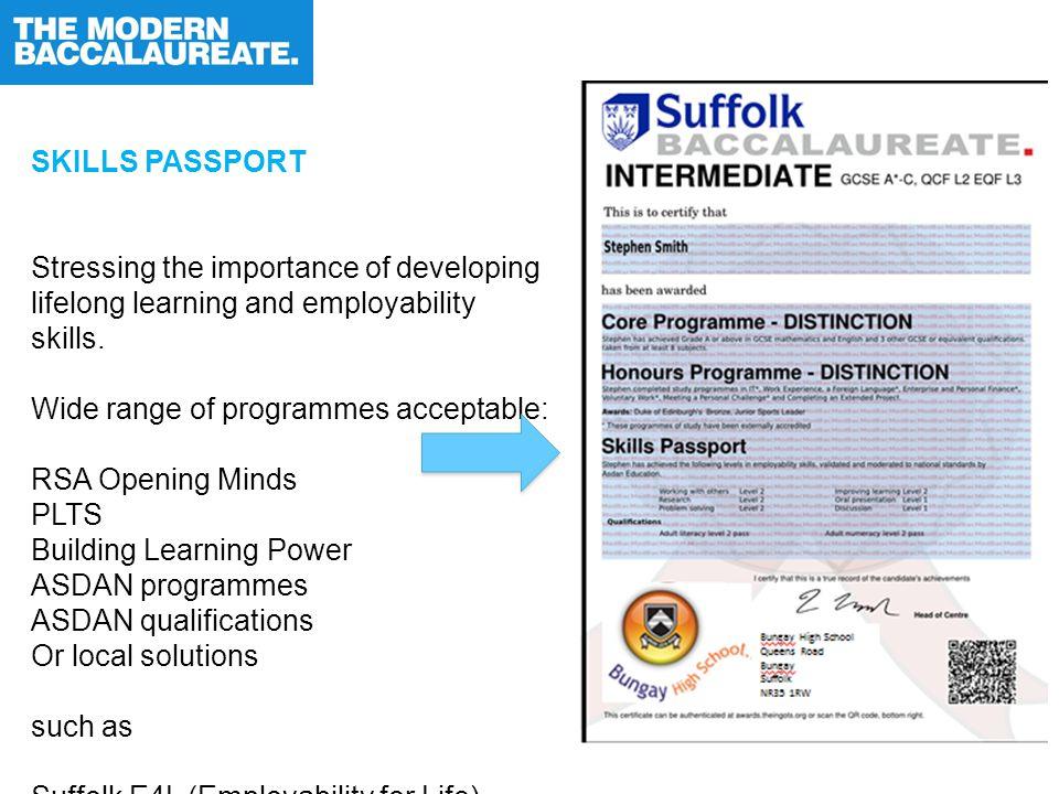 SKILLS PASSPORT Stressing the importance of developing lifelong learning and employability skills.
