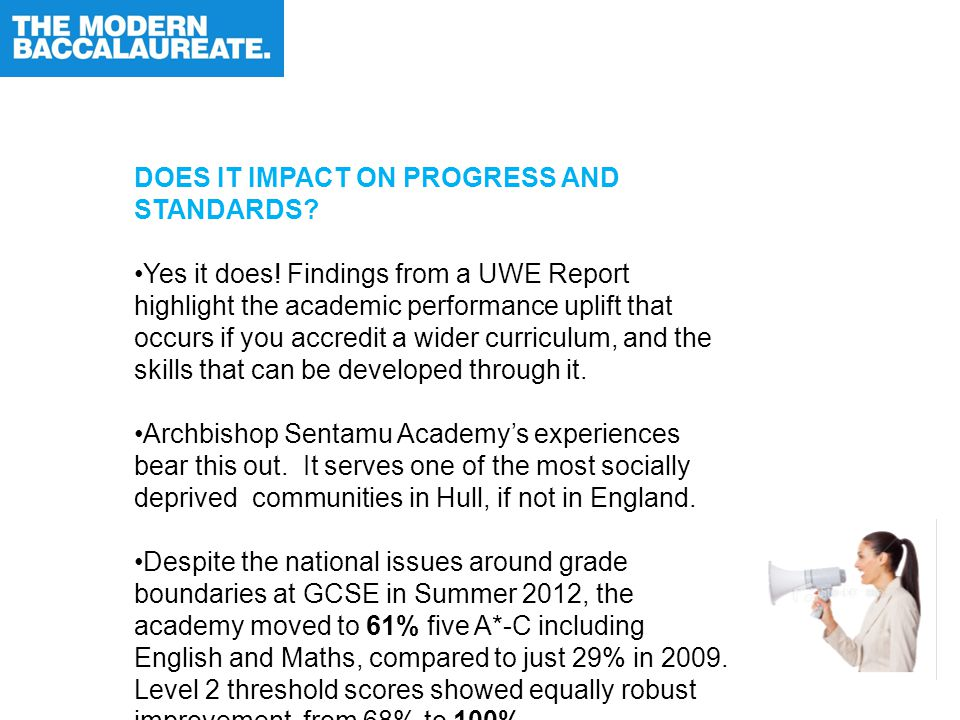 DOES IT IMPACT ON PROGRESS AND STANDARDS. Yes it does.