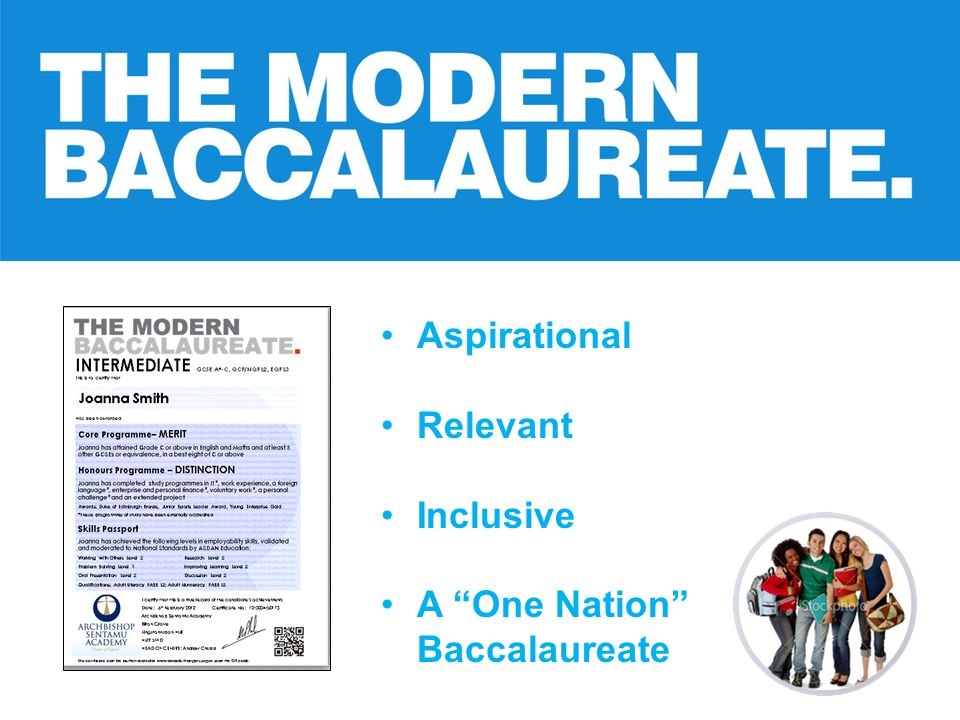 """Aspirational Relevant Inclusive A """"One Nation"""" Baccalaureate"""