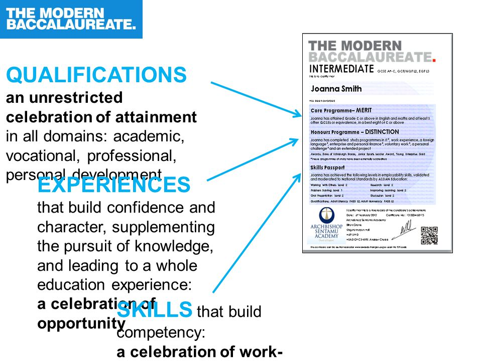 QUALIFICATIONS an unrestricted celebration of attainment in all domains: academic, vocational, professional, personal development EXPERIENCES that build confidence and character, supplementing the pursuit of knowledge, and leading to a whole education experience: a celebration of opportunity SKILLS that build competency: a celebration of work- readiness and life- readiness