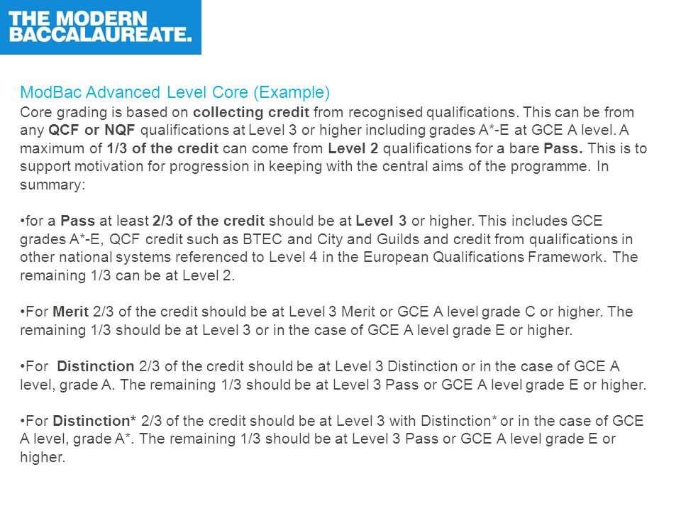 ModBac Advanced Level Core (Example) Core grading is based on collecting credit from recognised qualifications.