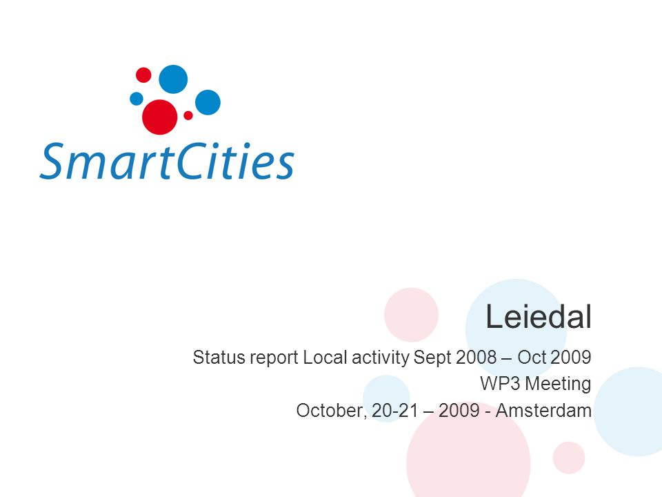 Leiedal Status report Local activity Sept 2008 – Oct 2009 WP3 Meeting October, 20-21 – 2009 - Amsterdam