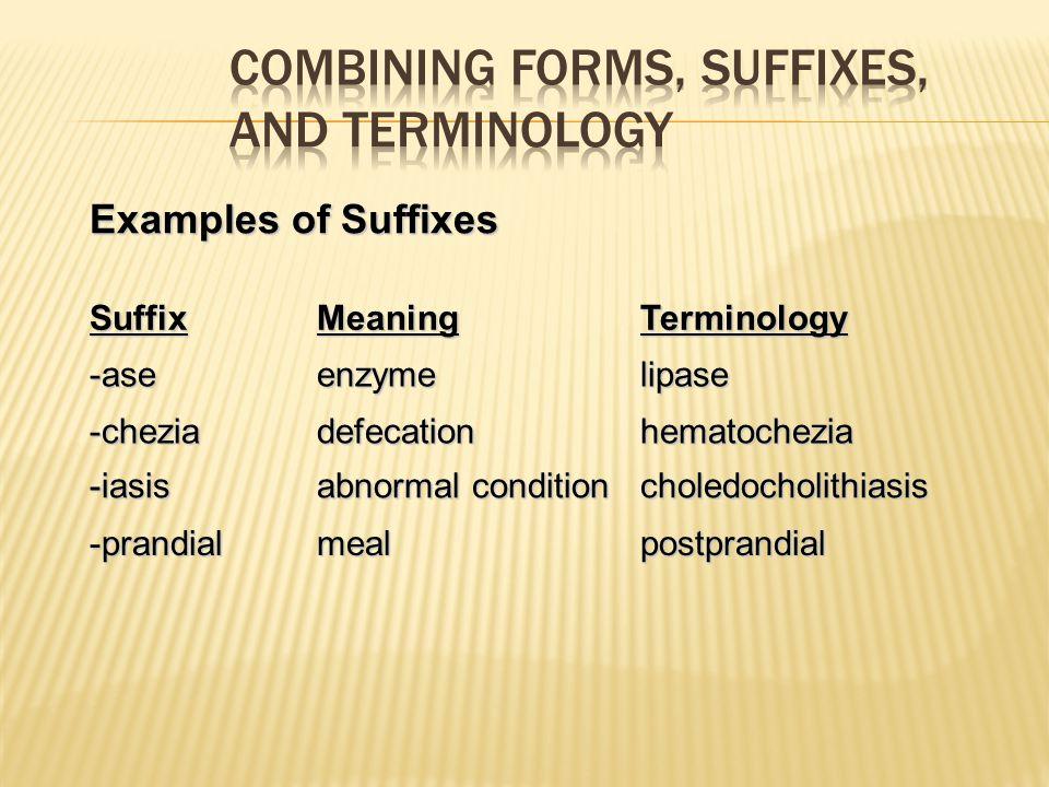 Examples of Suffixes SuffixMeaningTerminology -aseenzymelipase -cheziadefecationhematochezia -iasis abnormal condition choledocholithiasis -prandialme