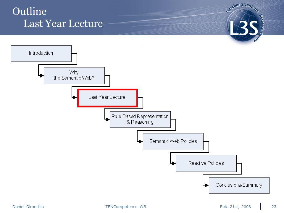 Daniel Olmedilla Feb. 21st, 2008TENCompetence WS23 Outline Last Year Lecture