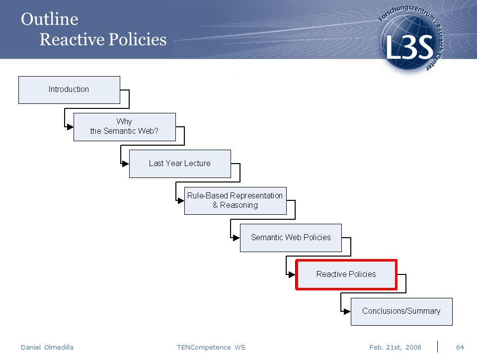 Daniel Olmedilla Feb. 21st, 2008TENCompetence WS64 Outline Reactive Policies