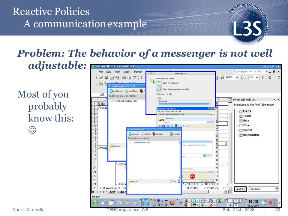 Daniel Olmedilla Feb. 21st, 2008TENCompetence WS72 Reactive Policies A communication example Problem: The behavior of a messenger is not well adjustab
