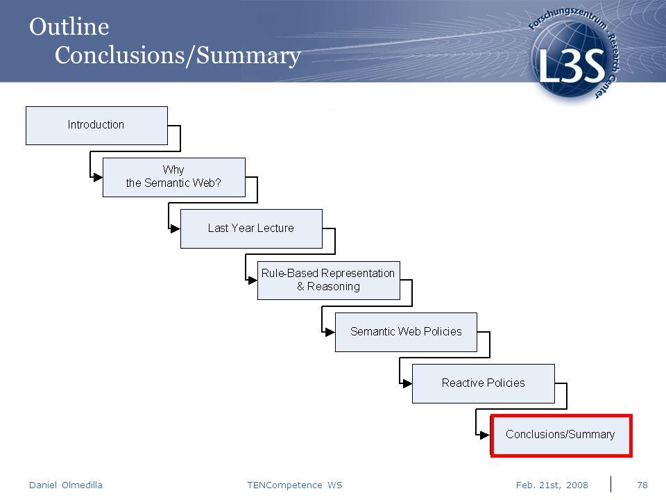 Daniel Olmedilla Feb. 21st, 2008TENCompetence WS78 Outline Conclusions/Summary