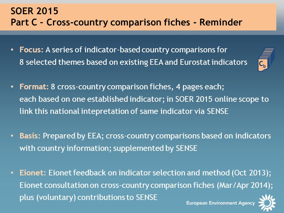 SOER 2015 Part C – Cross-country comparison fiches - Reminder Focus: A series of indicator-based country comparisons for 8 selected themes based on ex