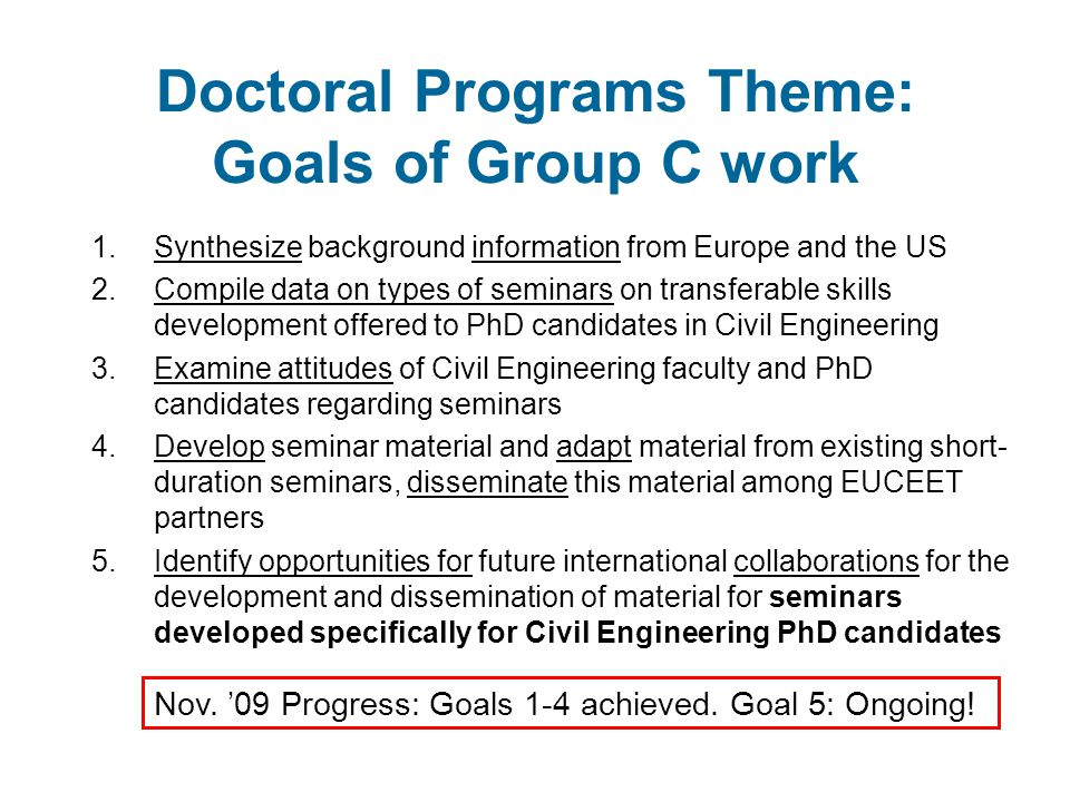 A possible future Pursue EU funding for the development of transferable seminars tailored to civil engineering PhD candidates Collaborative effort between civil engineering faculty and domain experts Material developed for seminar on terminology can be used as pilot Suggested topics: research ethics, communication to the public, …(combination of interests and available expertise)