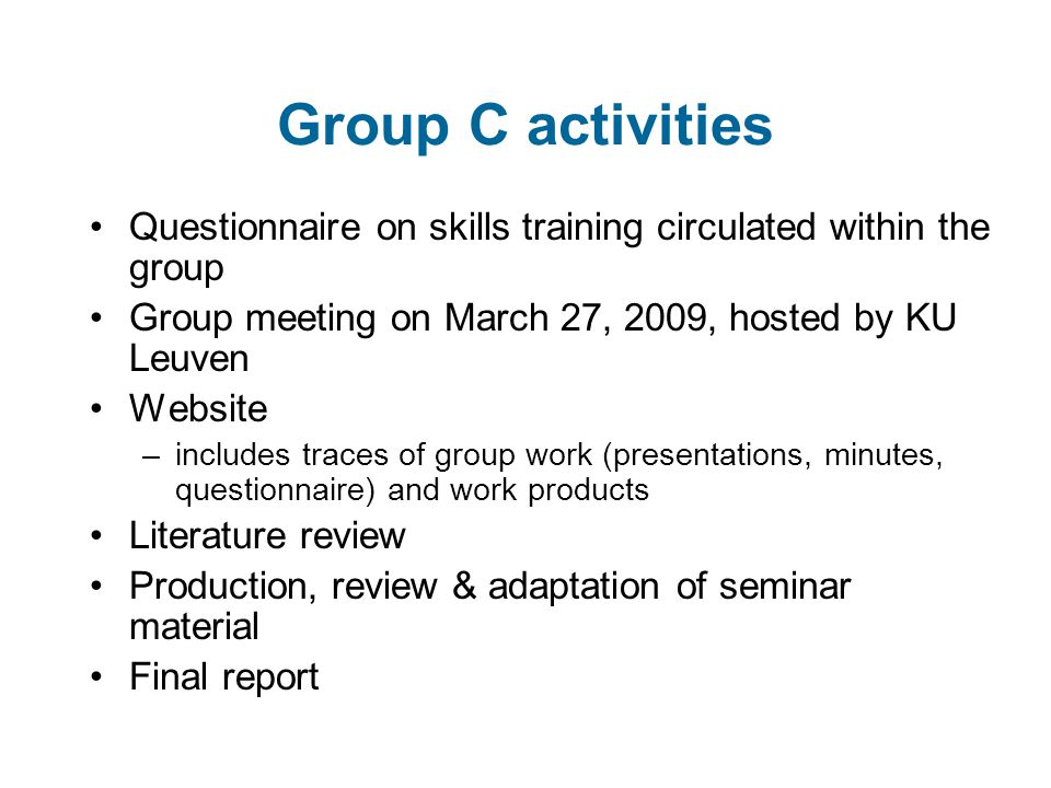 Group C activities Questionnaire on skills training circulated within the group Group meeting on March 27, 2009, hosted by KU Leuven Website –includes traces of group work (presentations, minutes, questionnaire) and work products Literature review Production, review & adaptation of seminar material Final report