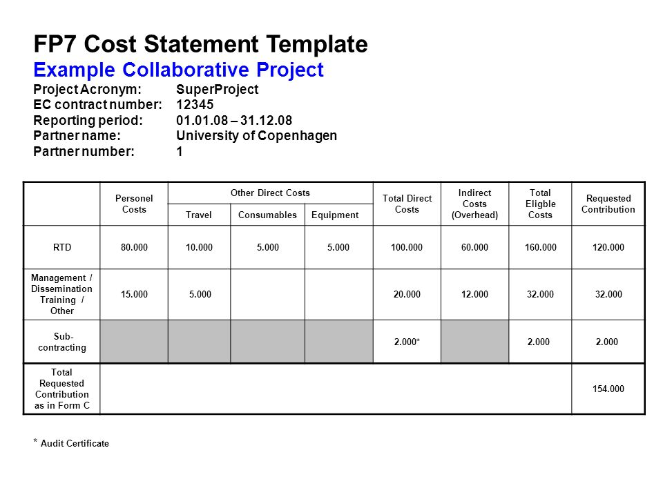 FP7 Cost Statement Template Example Collaborative Project Project Acronym: SuperProject EC contract number: 12345 Reporting period: 01.01.08 – 31.12.08 Partner name: University of Copenhagen Partner number: 1 Personel Costs Other Direct Costs Total Direct Costs Indirect Costs (Overhead) Total Eligble Costs Requested Contribution TravelConsumablesEquipment RTD80.00010.0005.000 100.00060.000160.000120.000 Management / Dissemination Training / Other 15.000 5.000 20.00012.00032.000 Sub- contracting 2.000* 2.000 Total Requested Contribution as in Form C 154.000 * Audit Certificate