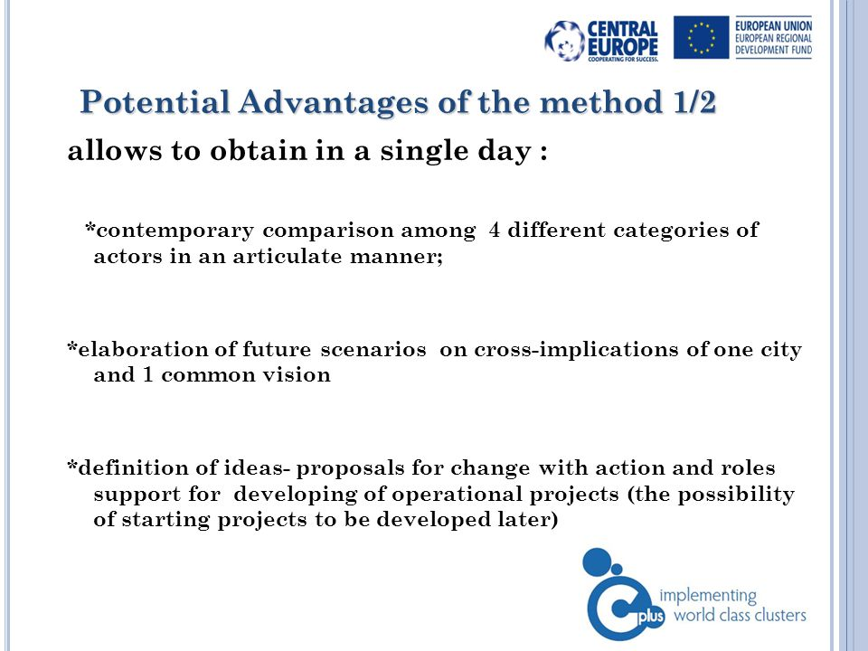 Potential Advantages of the method Potential Advantages of the method 2/2 allows to obtain in a single day : *negotiation on the priority intervention choice *creativity but also operational approach * individual work and team work 5