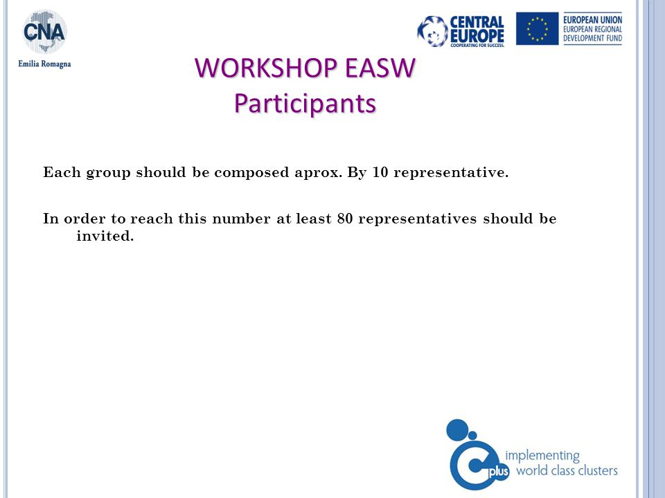 WORKSHOP EASW Schedule of the day Morning : Plenary session (registration of participants, introduction of the project and presentation of the days activities, presentation of possibile scenario already elaborated on the theme to be discussed) Participants are dived into 4 groups (enterprises, pubblic administrators, reserchers/expert, association/representative) Each group will work on positive and negative scenarios of the belonging cluster.