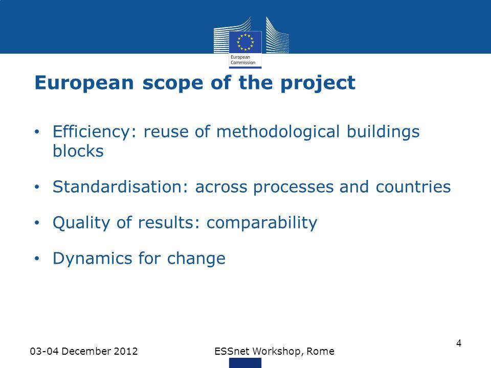 European scope of the project 03-04 December 2012ESSnet Workshop, Rome 4 Efficiency: reuse of methodological buildings blocks Standardisation: across