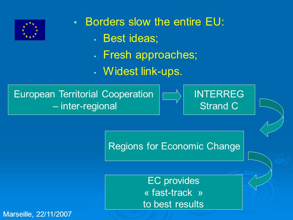 MED = INTERREG B providing big-picture answers on : Environment Transport Business, research and innovation Setting a > € 250 m framework to: Address immediate issues Lever in other funding set the stage for bigger thinking, bigger action Marseille, 22/11/2007