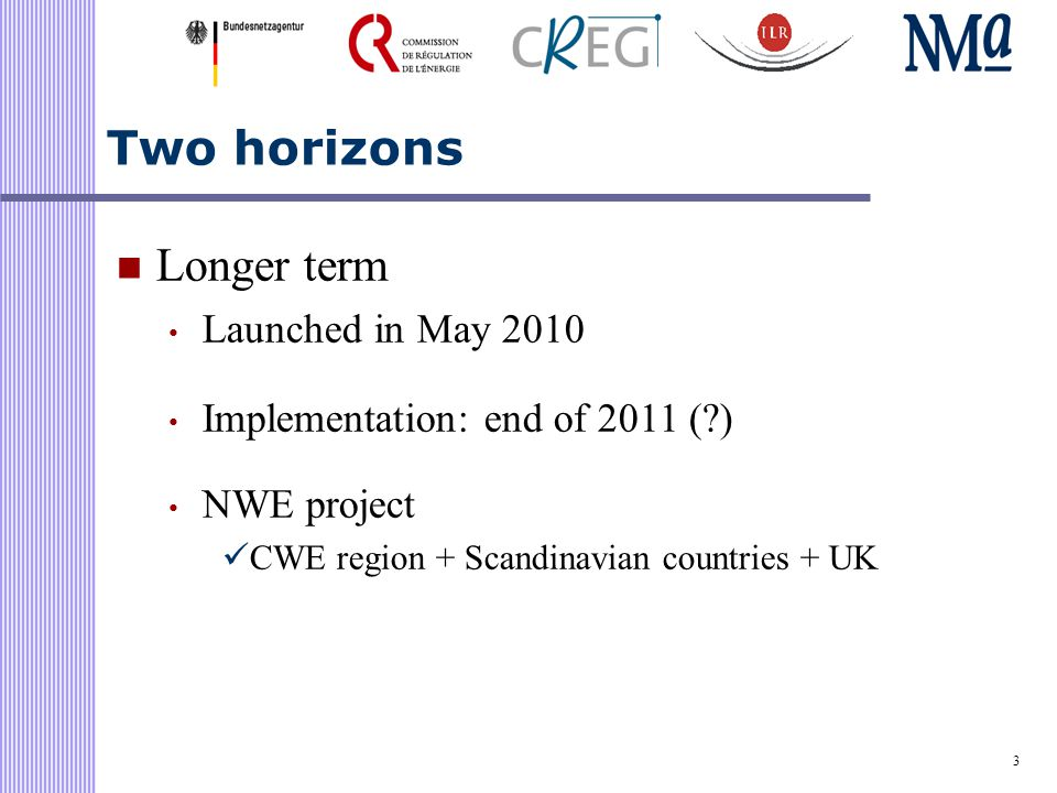 3 Two horizons Longer term Launched in May 2010 Implementation: end of 2011 ( ) NWE project CWE region + Scandinavian countries + UK