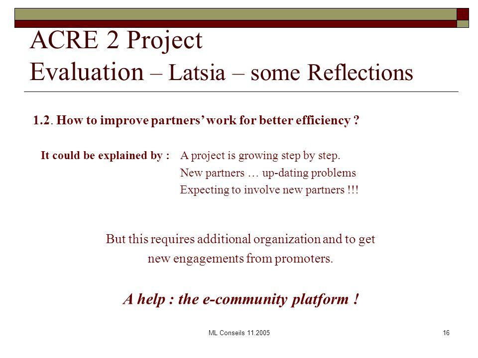 ML Conseils 11.200516 1.2. How to improve partners' work for better efficiency .