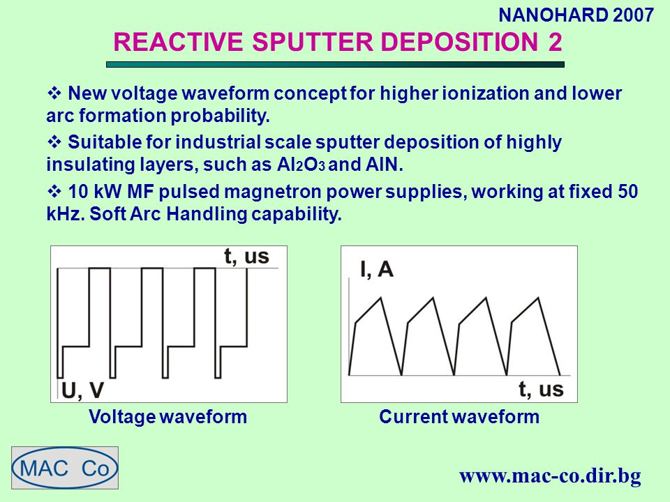 NANOHARD 2007 www.mac-co.dir.bg REACTIVE SPUTTER DEPOSITION 2  New voltage waveform concept for higher ionization and lower arc formation probability.