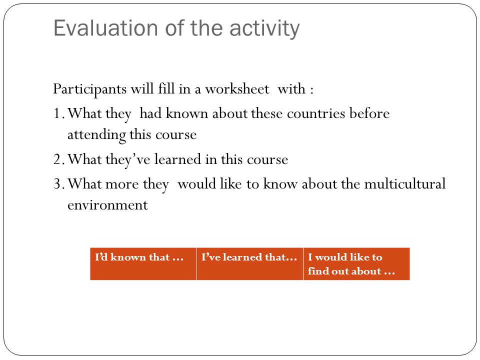 Evaluation of the activity Participants will fill in a worksheet with : 1. What they had known about these countries before attending this course 2. W