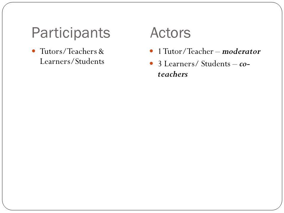 Participants Actors Tutors/Teachers & Learners/Students 1 Tutor/Teacher – moderator 3 Learners/ Students – co- teachers