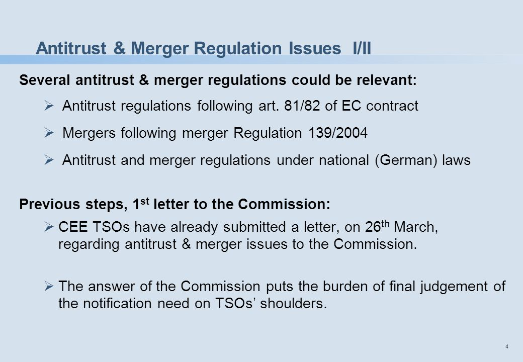 5 Antitrust & Merger Regulation Issues II/II Previous steps, 2 nd letter to the Commission:  CEE TSOs have submitted a second letter, on 10 th July, to the Commission for final clarification – whether the Commission is responsible or national competition authorities.