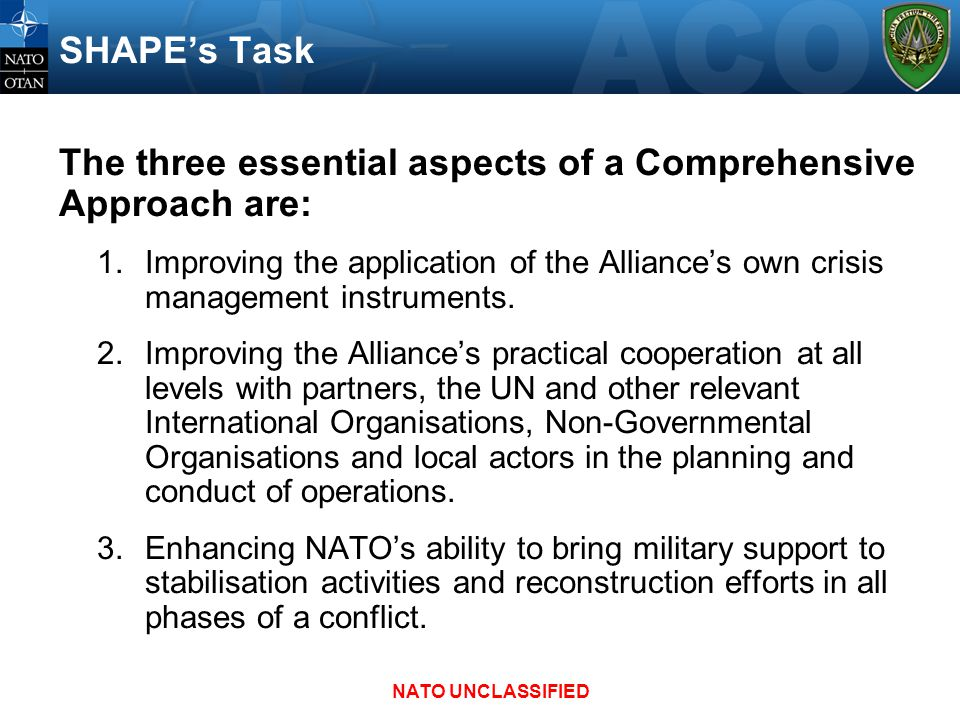 SHAPE's Task The three essential aspects of a Comprehensive Approach are: 1.Improving the application of the Alliance's own crisis management instrume